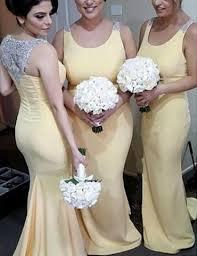 Light Yellow Sweep Train Mermaid Beading Bridesmaid Dress