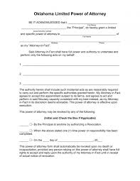 Limited Power Attorney Form For Irs New York Oklahoma Free Forms Letter Sample Samples 720