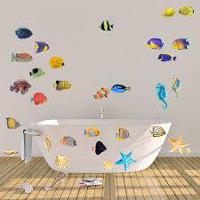 wandtattoo wandaufkleber set für badezimmer fische seesterne