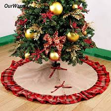 Decoration Christmas Plaid Buffalo 48 Inch Tree Skirt New Year Decorations For