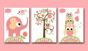 Contemporary Ideas Childrens Wall Art Design Pink Jungle Trees Kid Animals