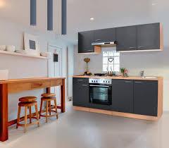 respekta küche küchenzeile küchenblock einbauküche komplett 210 cm buche grau