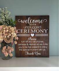 Unplugged Wedding Sign Wood Welcome Rustic Ceremony Decor Country