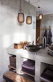 plastered concrete shelves in the bathroom badezimmer