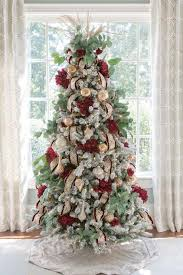 Red And Gold Christmas Tree Intricate Ornate Wired Ribbon Dark Dahlias