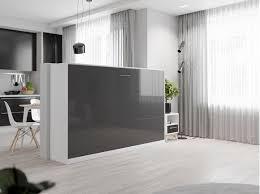 smartbett schrankbett basic 120x200 horizontal weiss anthrazit hochglanzfront mit gasdruckfedern