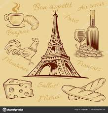 France Food Croissant Wine Cheese Eiffel Tower Hand Drawing Vector By Volod2943
