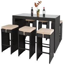 best choice products 7pc rattan wicker bar dining table patio