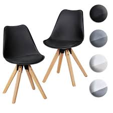 finebuy design esszimmerstühle 2er set sv43912 skandinavische stühle mit holzbeinen retro stuhlset kunststoff küchenstühle mit kunstleder