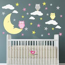 Owl Bedroom Wall Stickers by Owl Star And Moon Decal Wall Stickers Nursery Baby Decor Girls