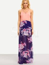 pink blue v neck floral split patterned maxi dress shein sheinside