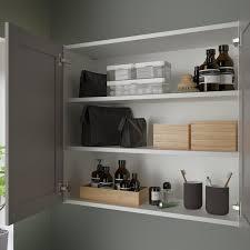 enhet خزانة بمرآة مع بابين أبيض رمادي هيكل 80x30x75 سم