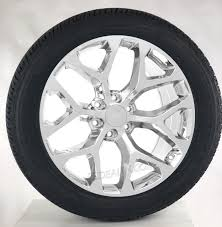100 Oem Chevy Truck Wheels Style Chrome Snowflake 22 With Goodyear Tires