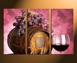 Grape Wall Decor For Kitchen by 3 Piece Large Pictures Wine Artwork Grapes Wall Decor Barrel