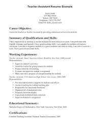 Teacher Assistant Resume Objective With No Experience