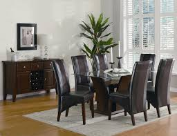 Dining Set With Leather Chairs Simple Black And Brown Room Sets New Decoration Ideas Solid