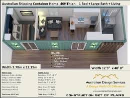 104 40 Foot Shipping Container Home Full Construction House Plans Blueprints Usa Feet Inches Australian Metric Sizes Hurry Last Sets House Plans House Home Designs