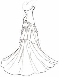 Wedding Dress clipart outline drawing 3