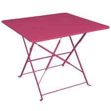 table camargue framboise structure métal epoxy dim 90 x 90