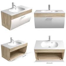 badmöbel set talona 02 hochglanz weiß sonoma eiche 90cm waschtisch led spiegelschrank 3 teilig