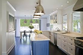 KitchenNarrow Beach House Kitchen Design With Sleek Blue Island Plus Chrome Hanging Lamp