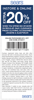 Sears Coupons - Extra 20% Off $50 On Apparel At Sears, Sears Printable Coupons 2019 March Escape Room Breckenridge Coupon Code Little Shop Of Oils Macys Coupons In Store Printable Dailynewdeals Lists And Promo Codes For Various Shop Your Way Member Benefits Parts Direct Free Shipping Lamps Plus Minus 33 Westportbigandtallcom Save Money With Baby Online Extra 20 Off 50 On Apparel At Vacuum
