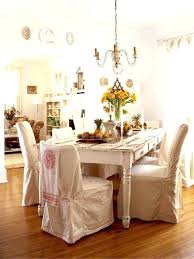 White Farmhouse Table Dining Chic Chair Covers Room With Black Chairs