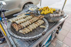 Thai Food Snack On Street. Sell On Motorcycle-truck Stock Photo ...