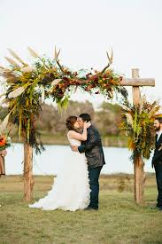 Rustic Wedding Ceremony Arch With Antlers For Fall