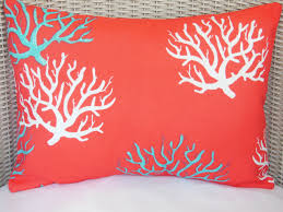 Coral Colored Decorative Accents by Red Coral Aqua Outdoor Nautical Throw Pillow Beach Decor