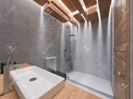3d darstellung einem bad in einem grauen stein und eine mosaic the decke aus den holzblöcken ausgeführt wird die mit led beleuchtung in