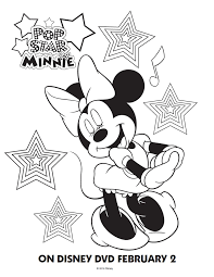 Pop Star Minnie Mouse Coloring Page