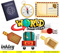 Travel Clipart Clip Art Png Passport Compass Luggage Mail Earth World