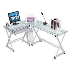Techni Mobili Computer Desk With Side Cabinet by L Shaped Computer Desk Silver Clear Techni Mobili Target