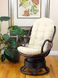 Amazon.com: Java Swivel Rocking Chair Dark Brown With Cushion ...