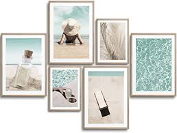 monoko premium poster wohnzimmer bilder set 6 motive als stilvolle wanddeko set beige pool urlaub 4x a3 2x a4