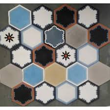 moroccan encaustic cement hexagonal tile random mix