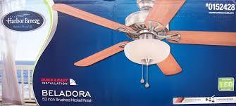 Harbor Breeze 52 Inch Ceiling Fan by Harbor Breeze 52 Inch Brushed Nickel Ceiling Fan W Led Beladora