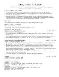 Medical Technologist Resume Sample Download Objective