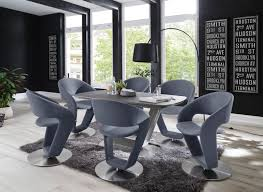 2 x stuhl firona in graublau kunstleder und edelstahl tellerfuß 360 drehbar esszimmerstuhl 2er set drehstuhl