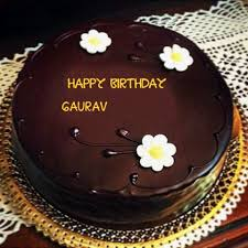 Great Birthday Cake Pic With Name Gaurav Beautiful Flowers With Chocolate Birthday Gaurav Name Wishes Cakes Pix