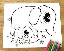 Cute Elephants Coloring Page Downloadable PDF File
