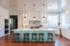 The Attractive Of Bright Kitchen Lighting In Beautiful With White Color Luxury Cabinets And A Large Painted Island On Wooden