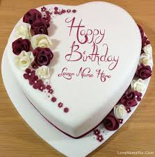Write Name on Decorated Lovers Birthday Cake Picture