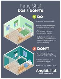 infographic showing dos and don ts of feng shui bedroom