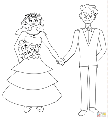 Bride And Groom Coloring Pages Happy Page Free Printable