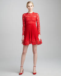valentino long sleeve lace plisse dress in red lyst