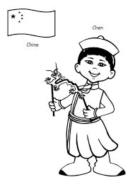 Chen Chinese Kid From Around The World Coloring Page Sky