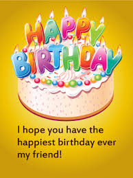 Happy Birthday Cake Card for Friends