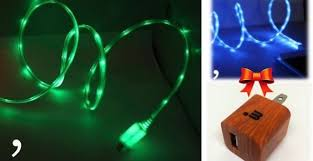 iPhone 5 6 LED Light Up Charging Cable Wall Charger